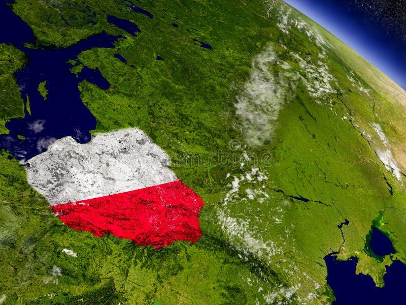 Download Польша с врезанным флагом на земле Иллюстрация штока - иллюстрации насчитывающей флаг, стратосфера: 81803925