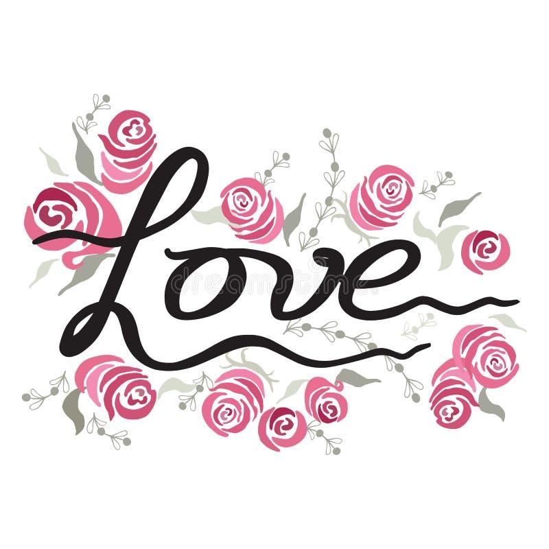 Полюбите винтажную иллюстрацию с розами краски литерности руки украшенными элементом на белизне бесплатная иллюстрация