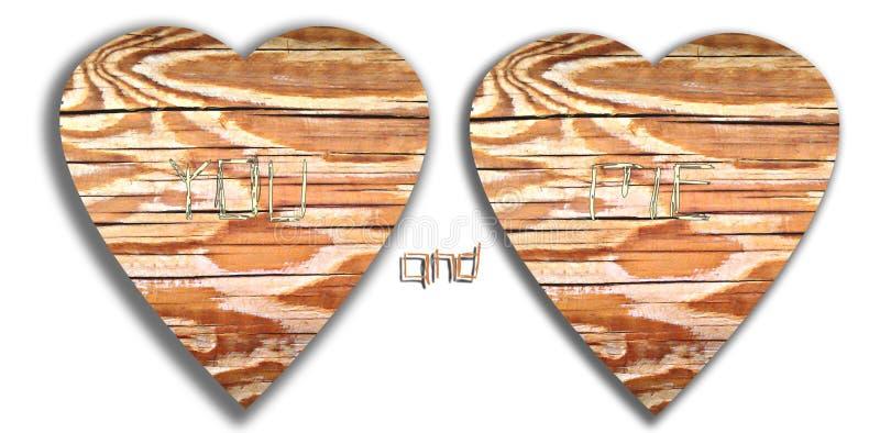 Полюбите граффити сердца и инициалов высекаенные в древесину дерева стоковые изображения