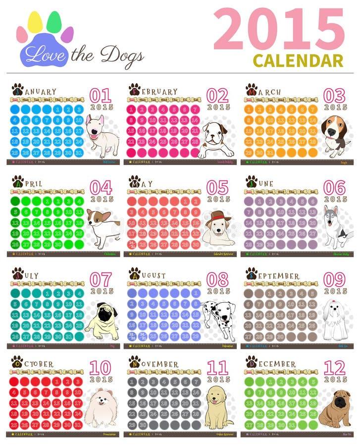 Полюбите календарь 2015 set1 собаки стоковые фото