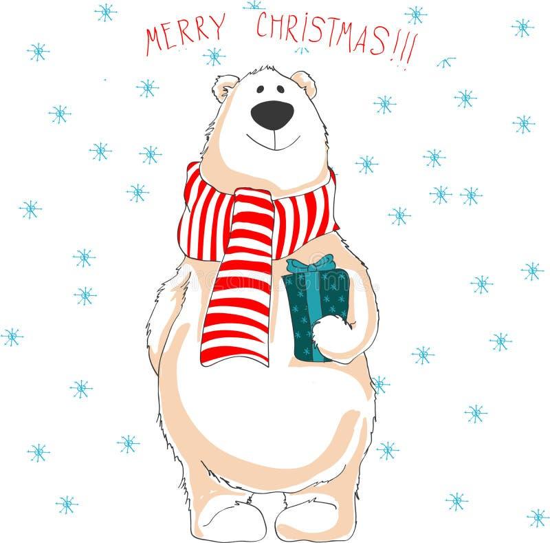 Полярный медведь в красном шарфе Держать подарок рождества иллюстрация штока