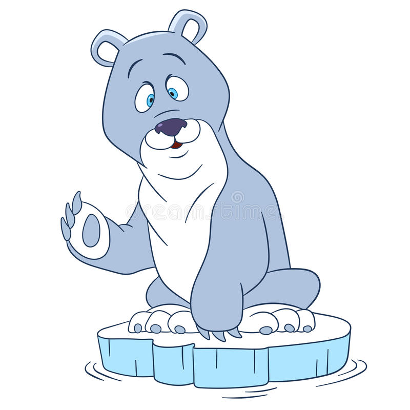 полярный медведь милого шаржа иллюстрация вектора