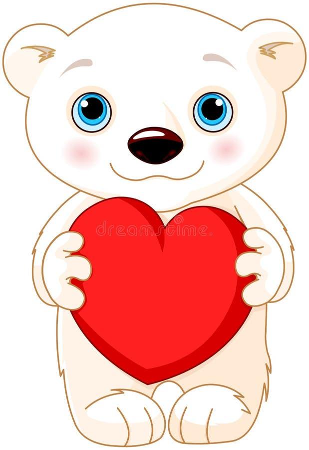 Полярный медведь дня валентинки иллюстрация штока