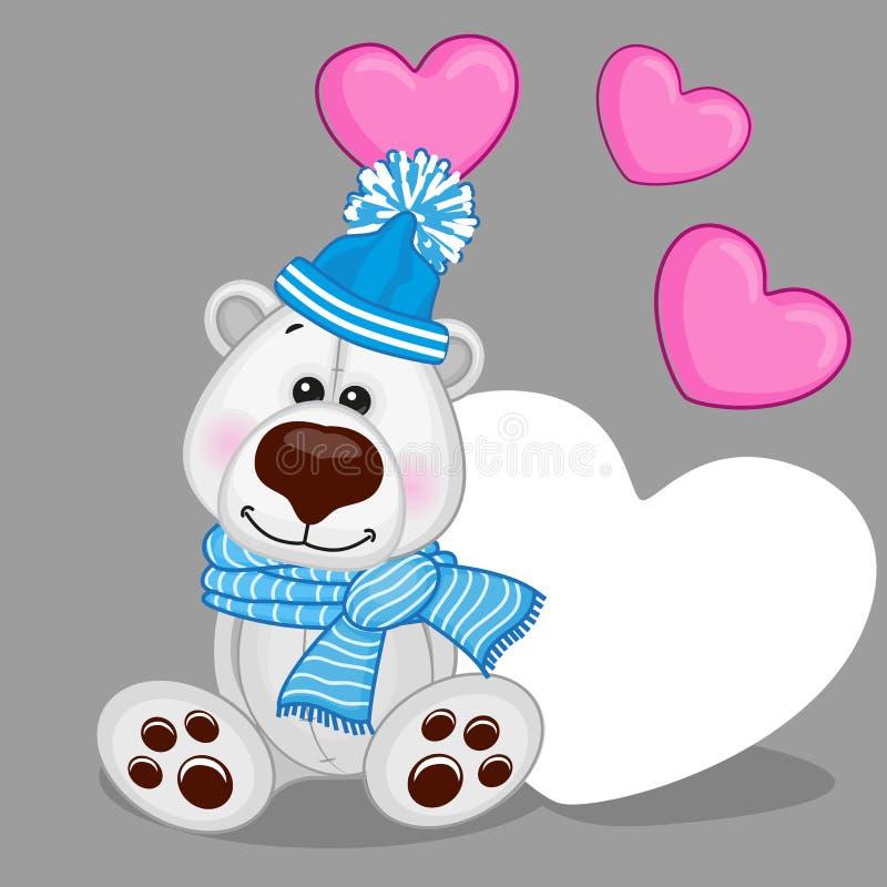 Полярный медведь с сердцами бесплатная иллюстрация