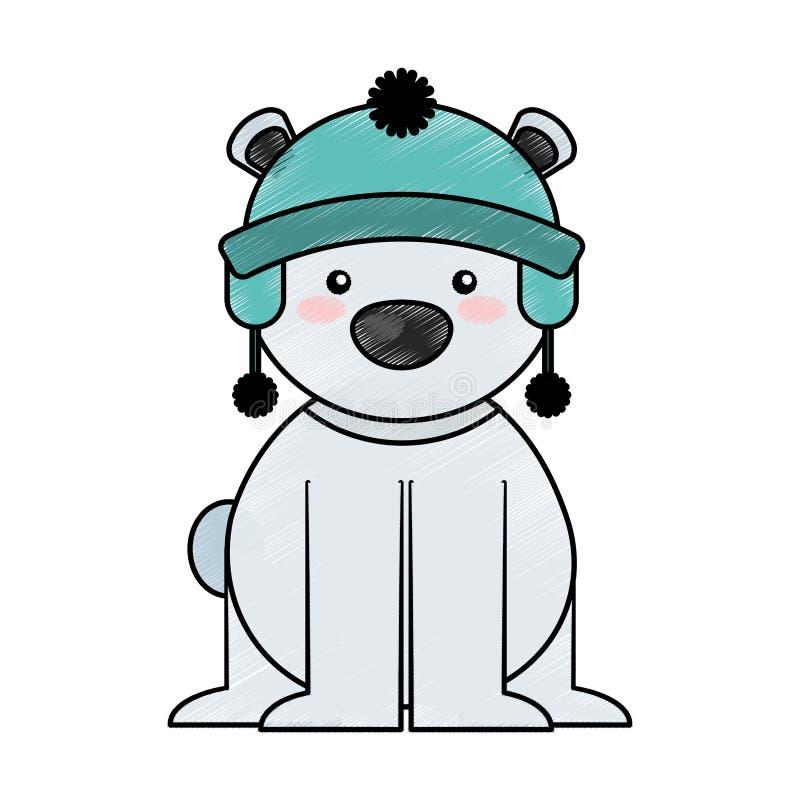Полярный медведь с шляпой зимы бесплатная иллюстрация