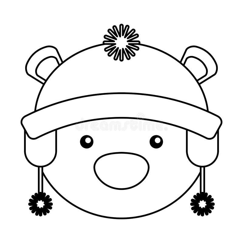 Полярный медведь с шляпой зимы иллюстрация вектора