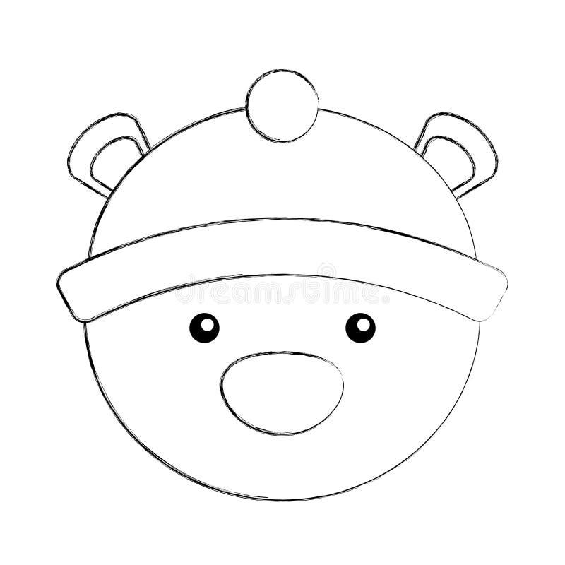 Полярный медведь с шляпой зимы иллюстрация штока