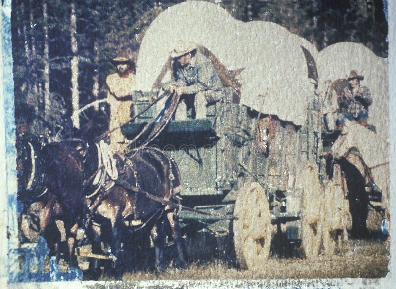 Поляроидный переход исторического reenactment обоза стоковое изображение rf