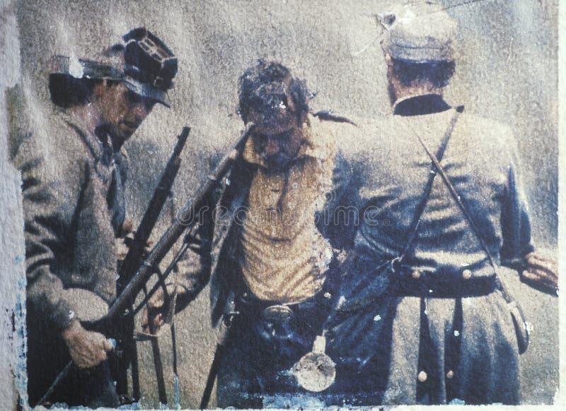 Поляроидный переход раненого солдата во время reenactment гражданской войны сражения бега Bull стоковая фотография rf