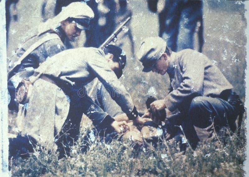 Поляроидный переход солдат клоня ранил во время Reenactment гражданской войны сражения бега Bull, Вирджинии стоковые фотографии rf