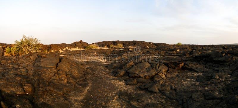Поля лавы вокруг вулкана эля Erta, Danakil, Afar Эфиопии стоковая фотография