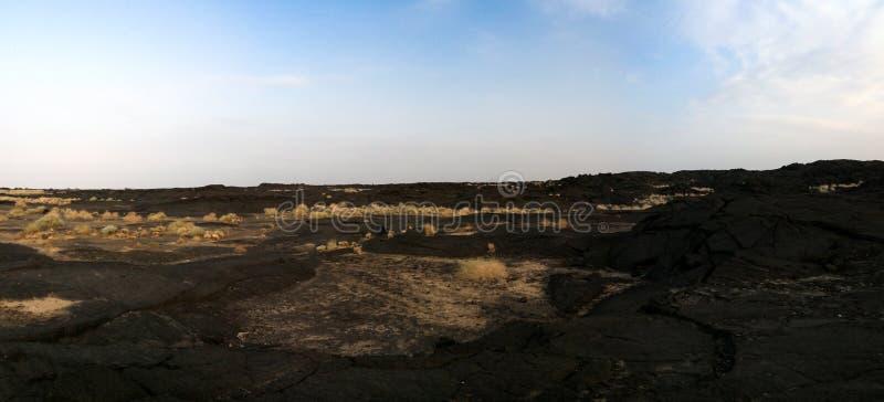 Поля лавы вокруг вулкана эля Erta, Danakil, Afar Эфиопии стоковое изображение