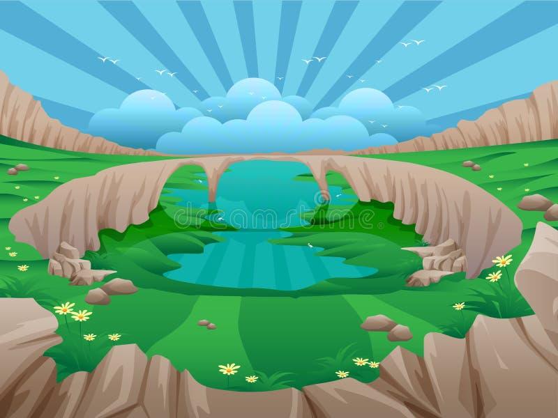 Поля долины зеленые иллюстрация вектора