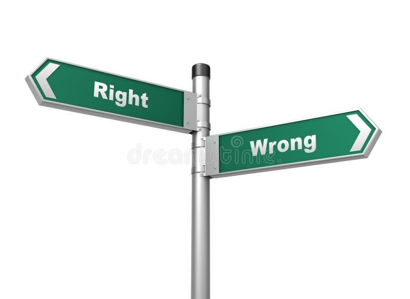Правая неправильная иллюстрация дорожного знака 3d иллюстрация вектора