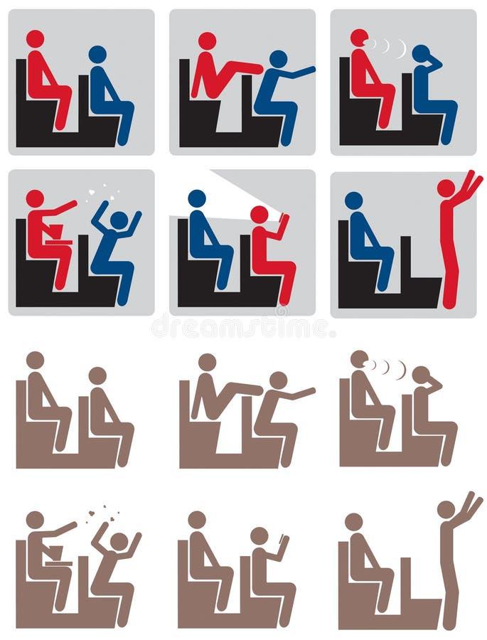 правила кино иконы установили театр стоковые изображения rf