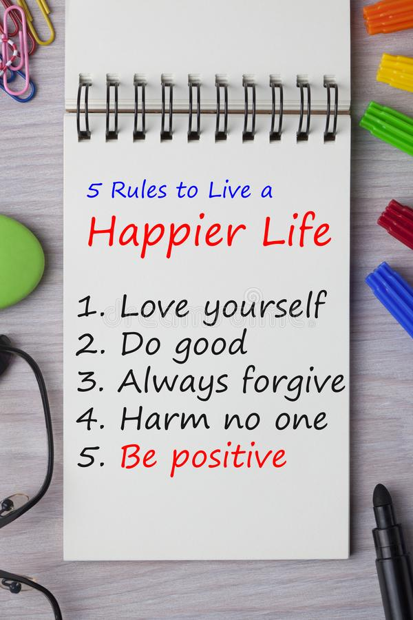 Правила, который нужно жить более счастливая жизнь иллюстрация штока