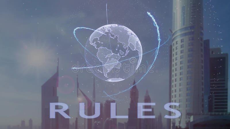 Правила отправляют SMS с hologram 3d земли планеты против фона современной метрополии иллюстрация штока