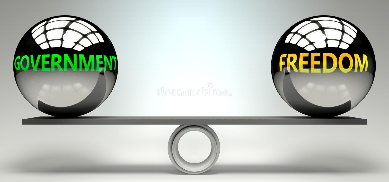 Правительство и свобода баланса, гармонии и отношений изображены как два равных мяча с текстовыми словами, показывающими абстракт иллюстрация вектора