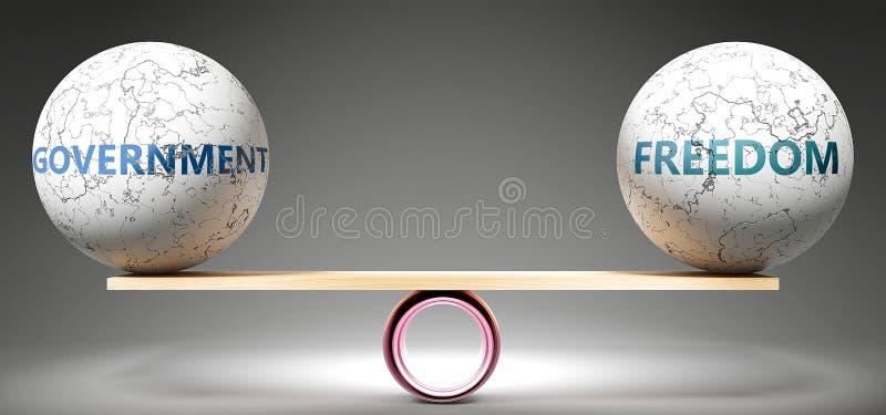 Правительство и свобода в равновесии - изображаемые как сбалансированные мячи в масштабе, которые символизируют гармонию и справе иллюстрация штока
