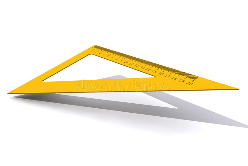 Правитель треугольника изолированный на белой предпосылке стоковое изображение