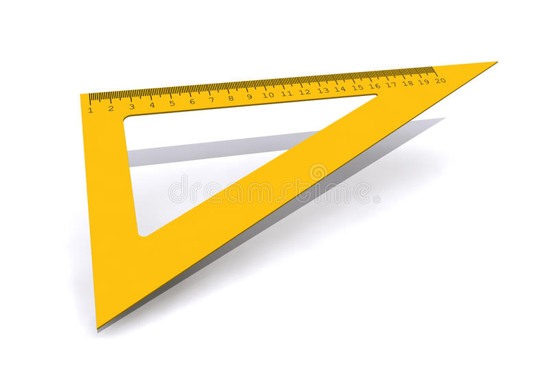 Правитель треугольника изолированный на белой предпосылке стоковые фотографии rf