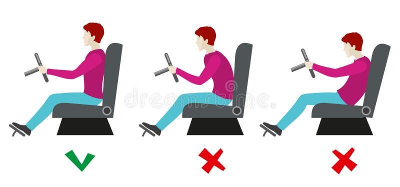 Правильные и плохие позиции усаживания для водителя Infographics вектора иллюстрация вектора