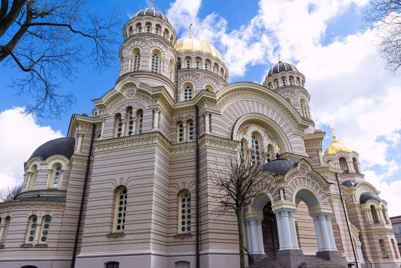 Правоверный рождество собора Христоса в Риге, Латвии стоковое изображение
