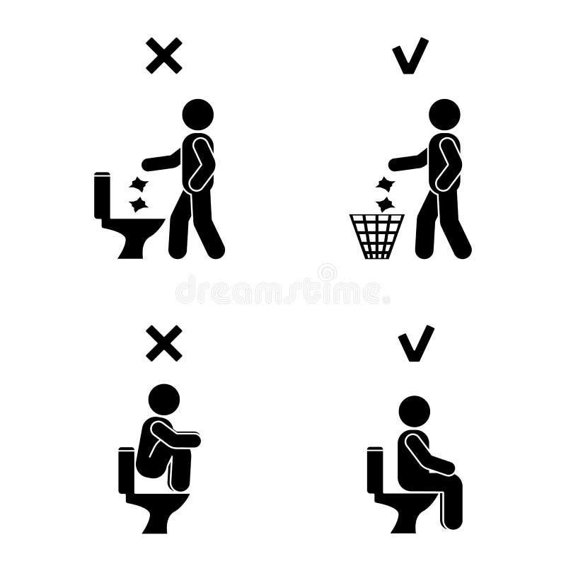 Правое и неправильное положение людей человека в шкафе Диаграмма ручки позиции Vector иллюстрация представлять знак символа значк иллюстрация вектора