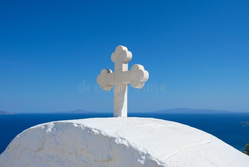 Православная церков церковь Cycladic греческая на острове Paros, Греции стоковая фотография