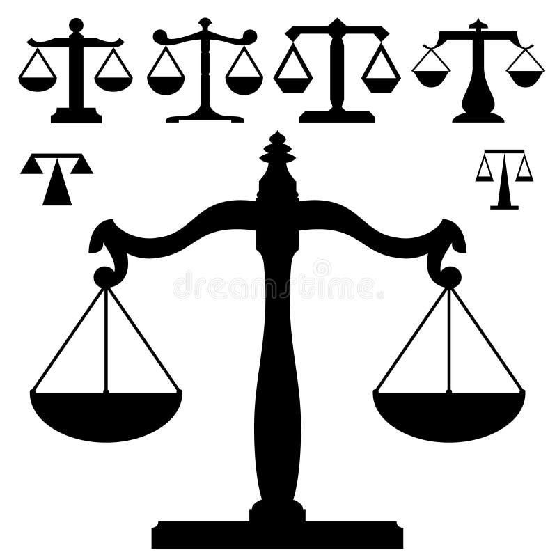 правосудие вычисляет по маштабу вес силуэта иллюстрация штока