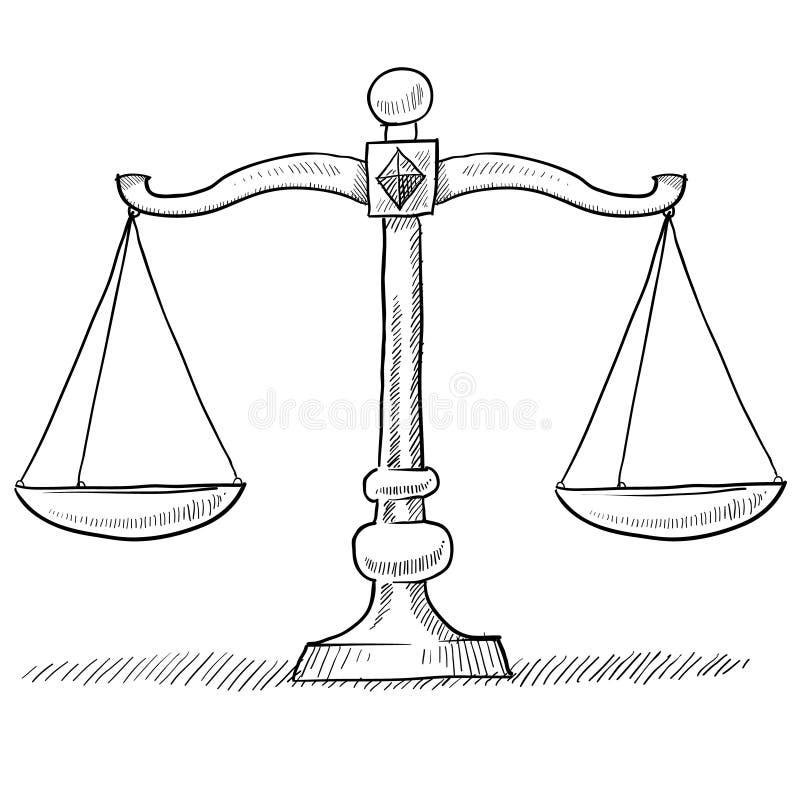 правосудие вычисляет по маштабу эскиз иллюстрация штока