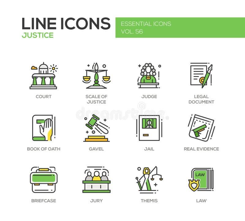 Правосудие - линия установленные значки дизайна иллюстрация вектора