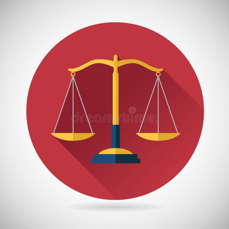 Правосудие символа баланса закона вычисляет по маcштабу значок на стильном иллюстрация штока