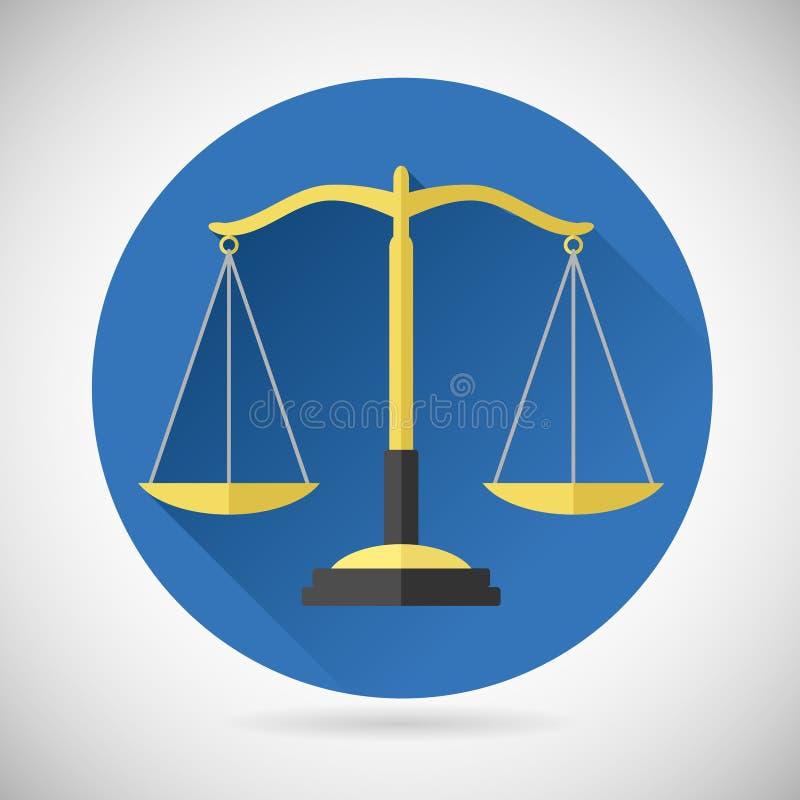 Правосудие символа баланса закона вычисляет по маcштабу значок на стильном иллюстрация вектора