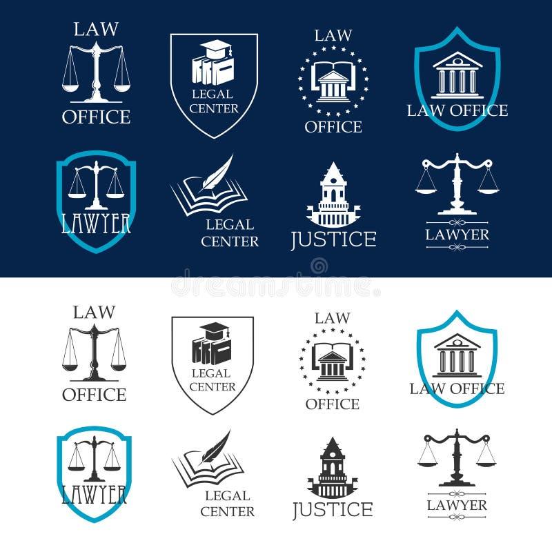 Правосудие, юридический офис и законные разбивочные значки бесплатная иллюстрация