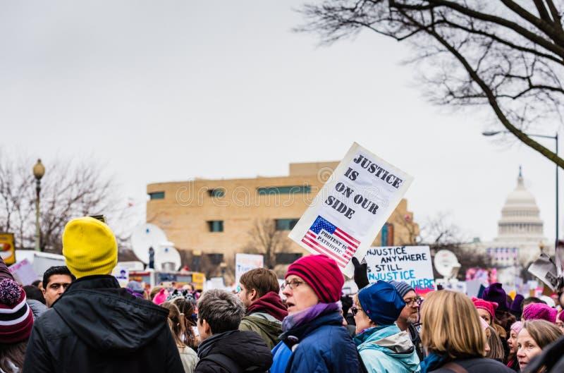 Правосудие - DC в марте - Вашингтоне женщин стоковое изображение rf