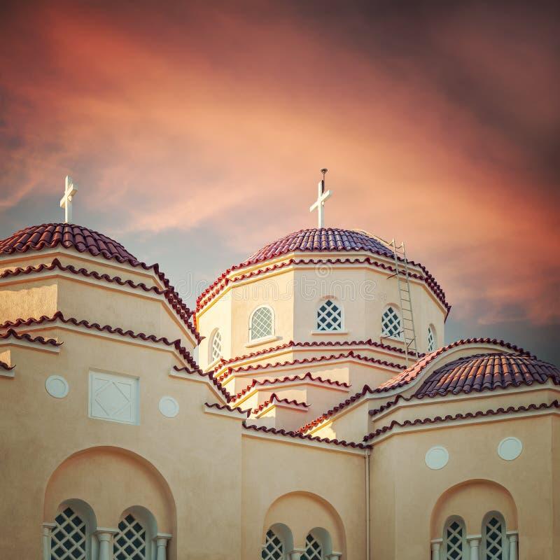 Православная церков церковь Santorini стоковое фото