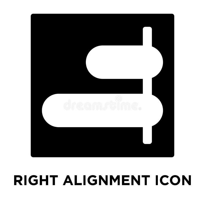 Правый вектор значка выравнивания изолированный на белой предпосылке, логотипе c бесплатная иллюстрация