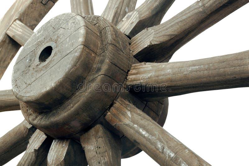 Правый взгляд крупного плана винтажного колеса телеги стоковая фотография rf