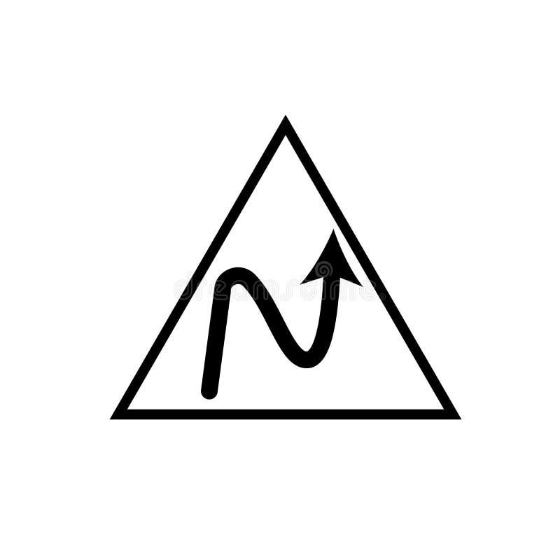 Правый обратный вектор значка кривой изолированный на белой предпосылке, Ri иллюстрация штока