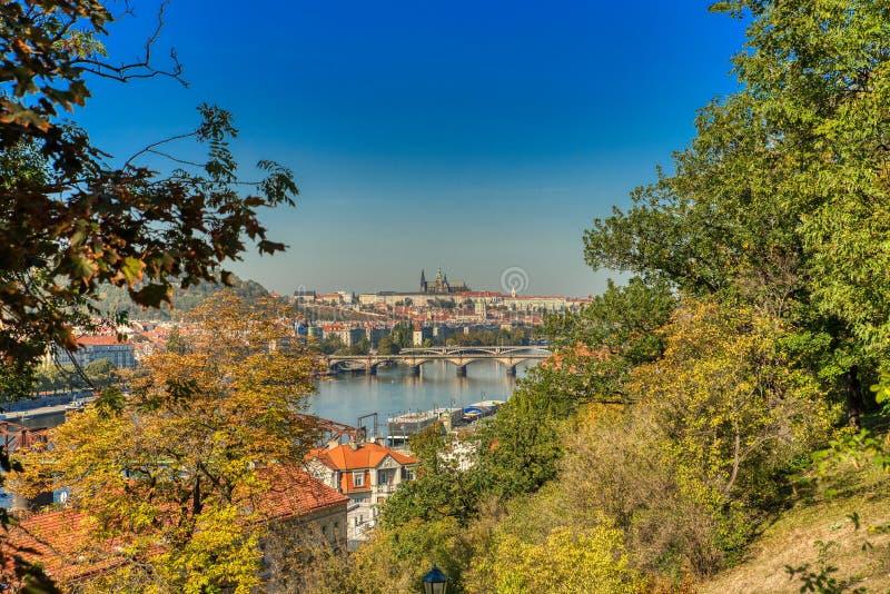 Прага Vysehrad и взгляд замка Праги стоковые изображения rf