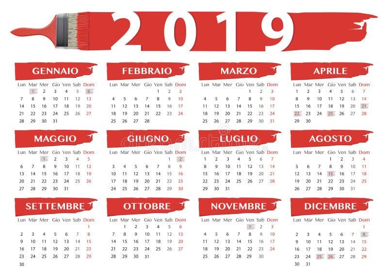праздненство итальянки календаря 2019 красное щеток иллюстрация вектора