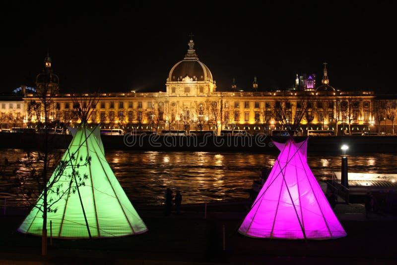 празднество освещает lyon стоковая фотография
