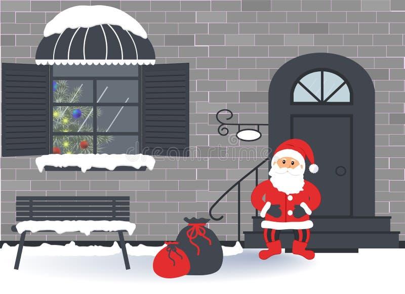 Праздники: Веселое рождество, Новый Год и торжество xmas Внешняя дверь дома и украшение окна на праздник рождества иллюстрация вектора
