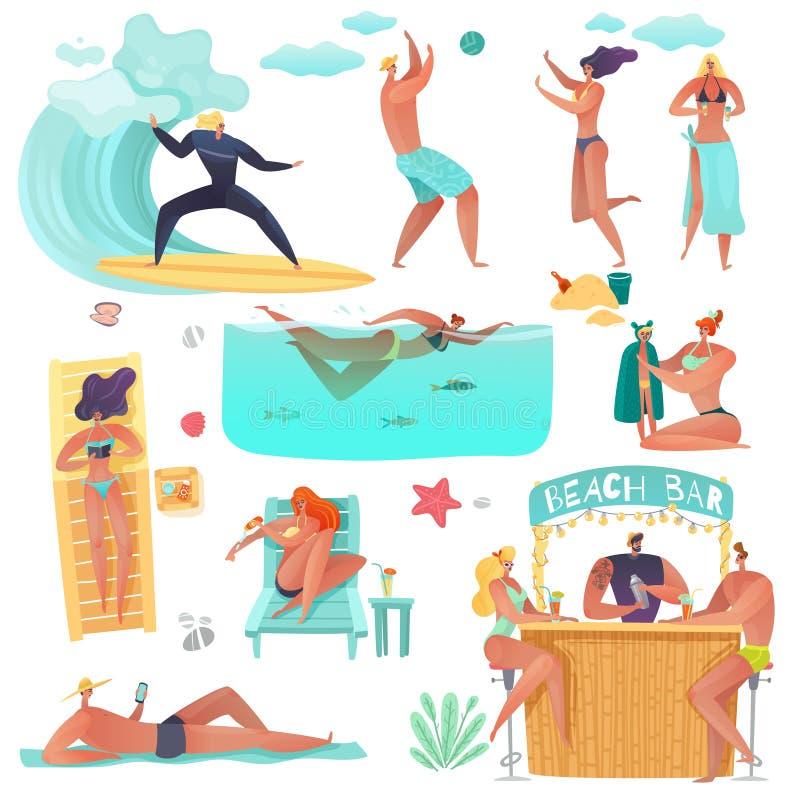 Праздники людей пляжа лета бесплатная иллюстрация