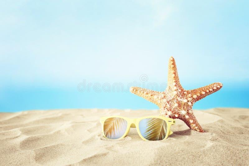 Праздники пляж, солнечные очки и морские звёзды песка перед предпосылкой моря лета с космосом экземпляра стоковая фотография rf
