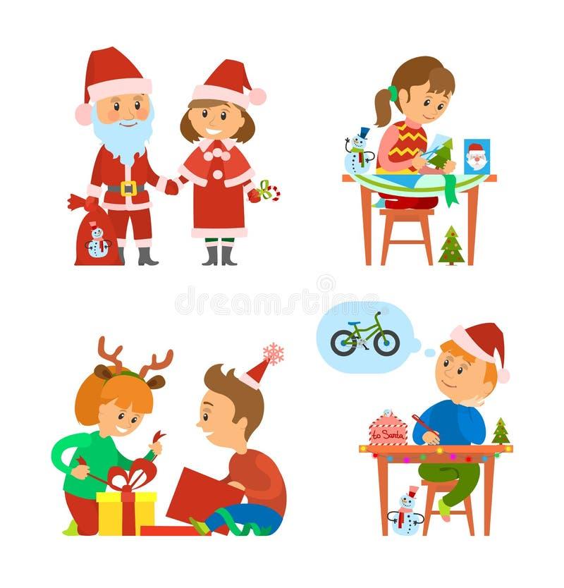 Праздники рождества, дети распаковывая настоящие моменты бесплатная иллюстрация