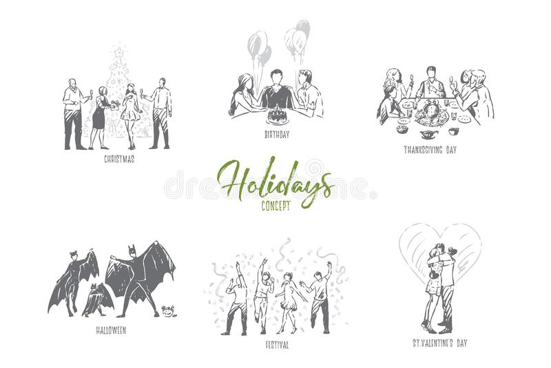 Праздники, рождество, день рождения, благодарение, хеллоуин, эскиз концепции дня Валентайн иллюстрация вектора