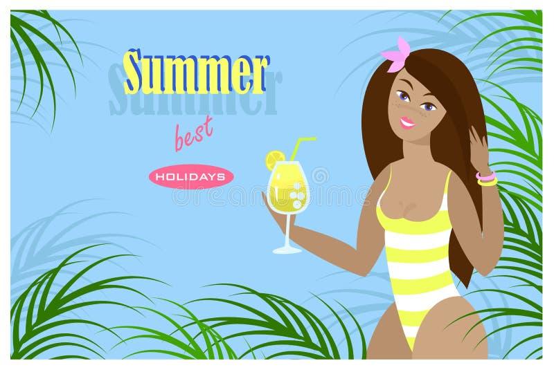 Праздники самое лучшее лета надписи Красивая девушка в бикини с напитком коктейля, среди тропических листьев иллюстрация вектора