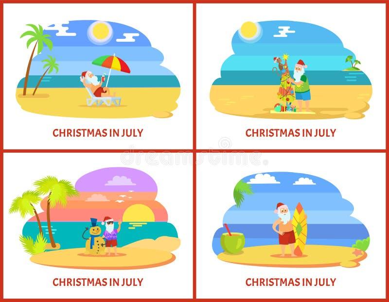 Праздники Санта Клауса теплые в июле на векторе пляжа иллюстрация вектора